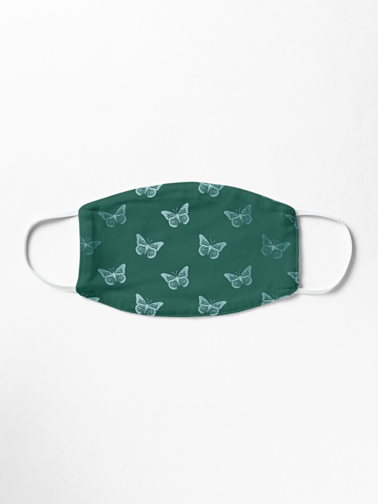 Alternate view of Minimalist Monarch Butterflies in Teal Turquoise Green Mask