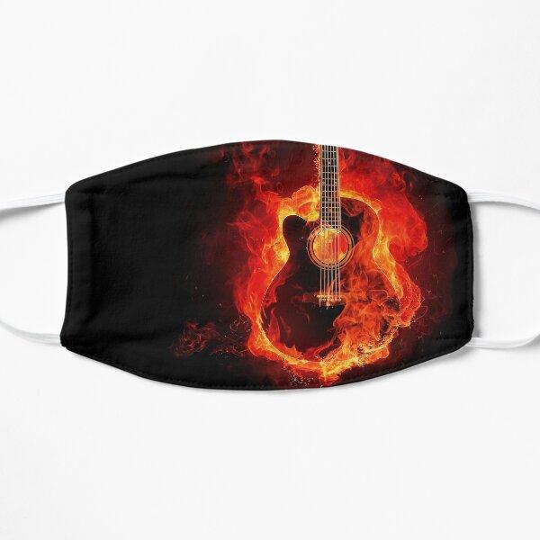 Burning guitar - band music face mask Flat Mask