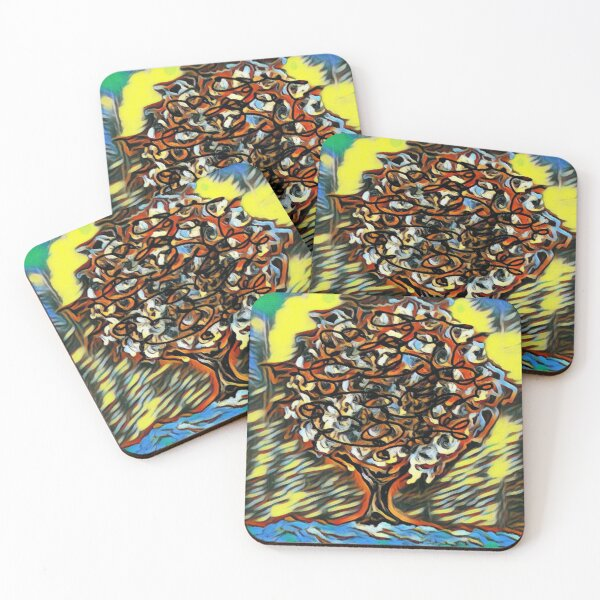 Tree Art 7 designed and created by (c) Janet Watson Art  Coasters (Set of 4)