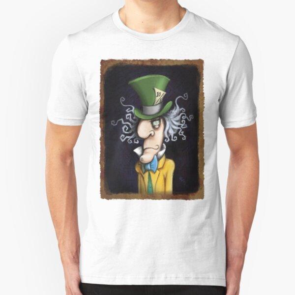 were all mad here - mad hatter - alice in wonderland Slim Fit T-Shirt
