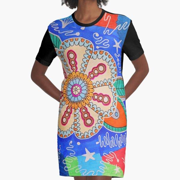 Folk art flowers Graphic T-Shirt Dress