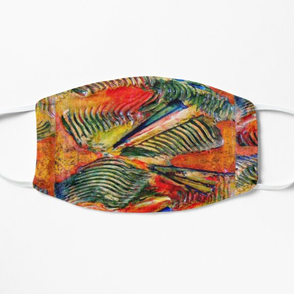 ABSTRACT RED AND GREEN SWIRLING PALM WAVES Mask