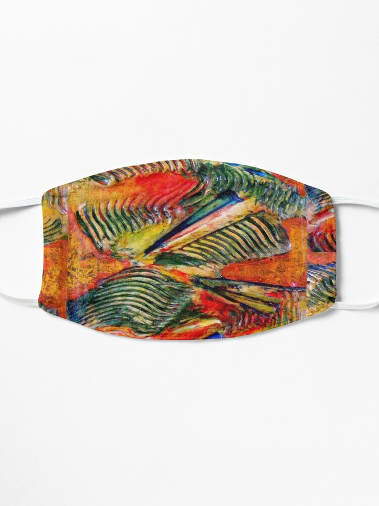 Alternate view of ABSTRACT RED AND GREEN SWIRLING PALM WAVES Mask