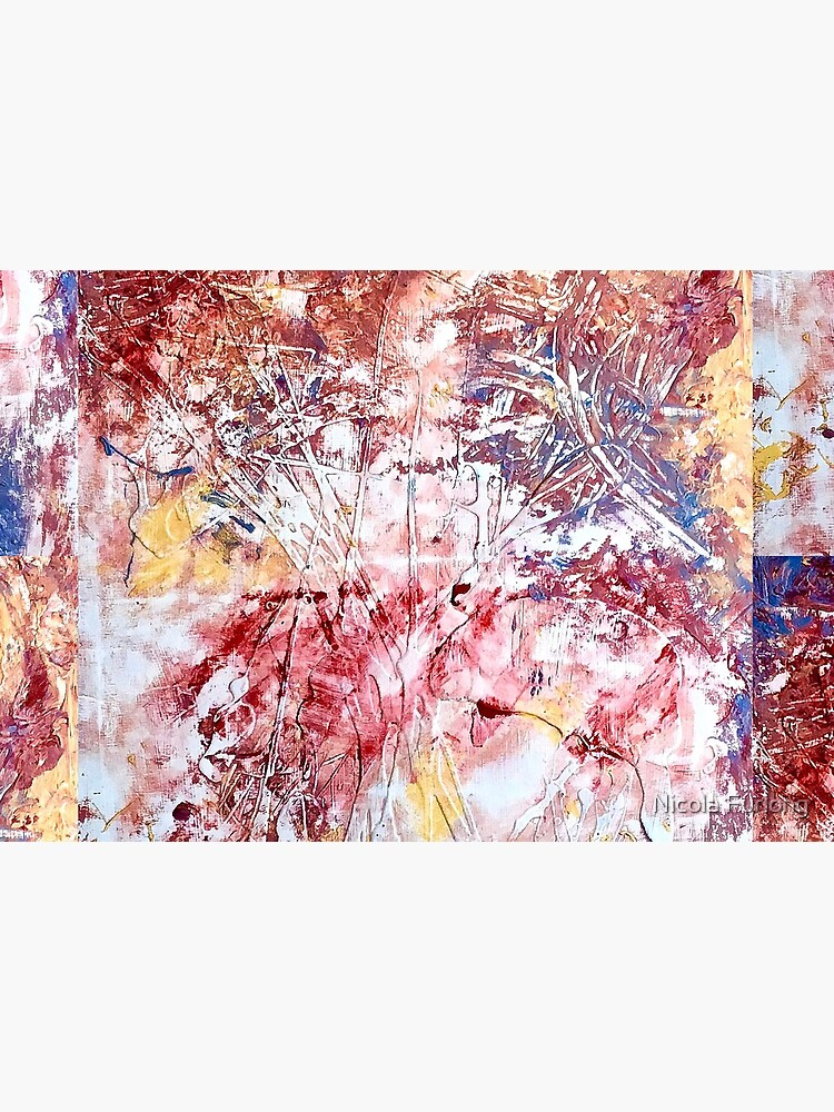 CALM ABSTRACT ART PASTEL RED, YELLOW AND BLUE  by nicolafurlong