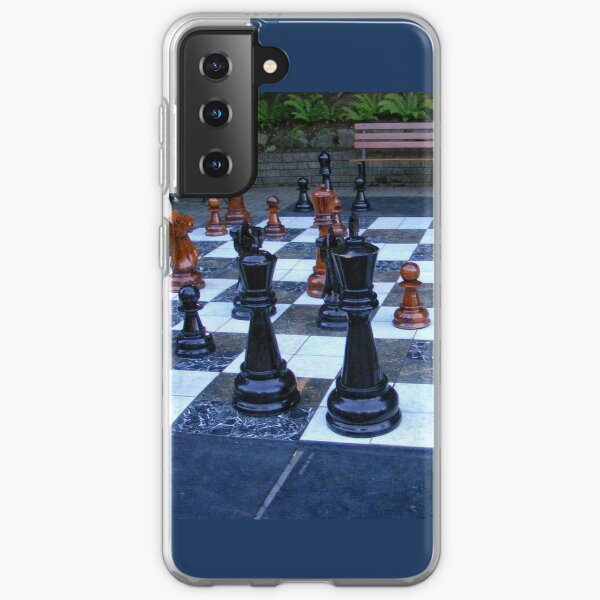 BLACK AND WHITE GEOMETRIC OUTDOOR CHESS BOARD GAME  Samsung Galaxy Soft Case