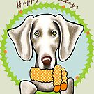 Weimaraner Happy Howlidays Christmas Card by offleashart
