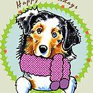 Australian Shepherd Happy Howlidays Christmas Card by offleashart