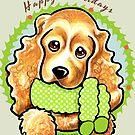 Cocker Spaniel Happy Howlidays Christmas Card by offleashart