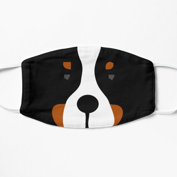 Bernese Mountain Dog Face Silhouette Flat Mask