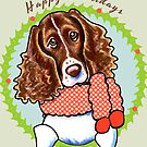 Springer Spaniel Happy Howlidays Christmas Card by offleashart