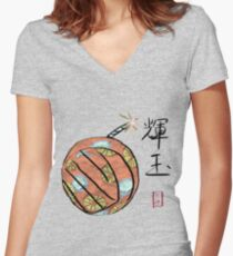 Amaterasu's Cherry Bomb Women's Fitted V-Neck T-Shirt