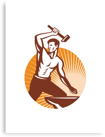 Blacksmith With Hammer Striking Anvil Retro by patrimonio