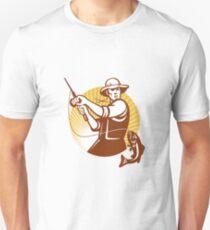 Fly Fisherman Fishing Retro Woodcut Unisex T-Shirt