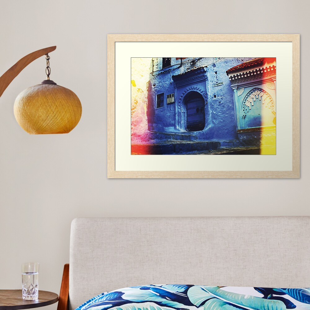 """Traditional Blue Buildings and Doors in """"Chefchaoun"""", Morocco ( Wall Art Only )  Framed Art Print"""