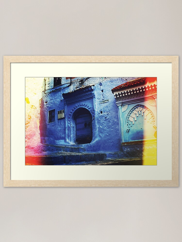 """Alternate view of Traditional Blue Buildings and Doors in """"Chefchaoun"""", Morocco ( Wall Art Only )  Framed Art Print"""