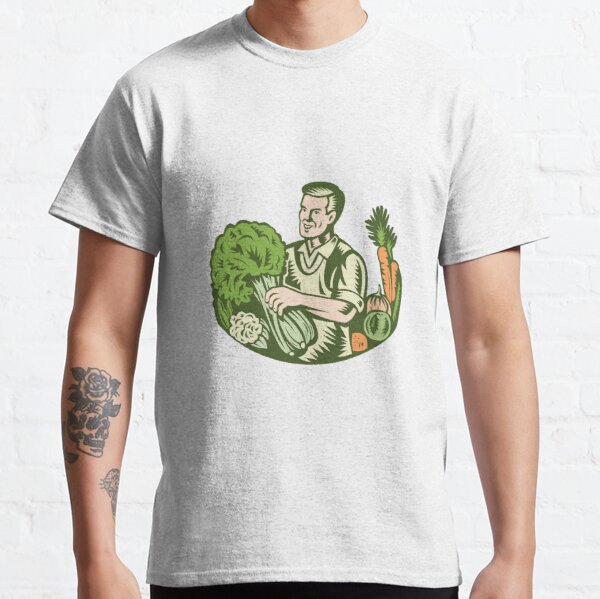 Organic Farmer Green Grocer With Vegetables Retro Classic T-Shirt