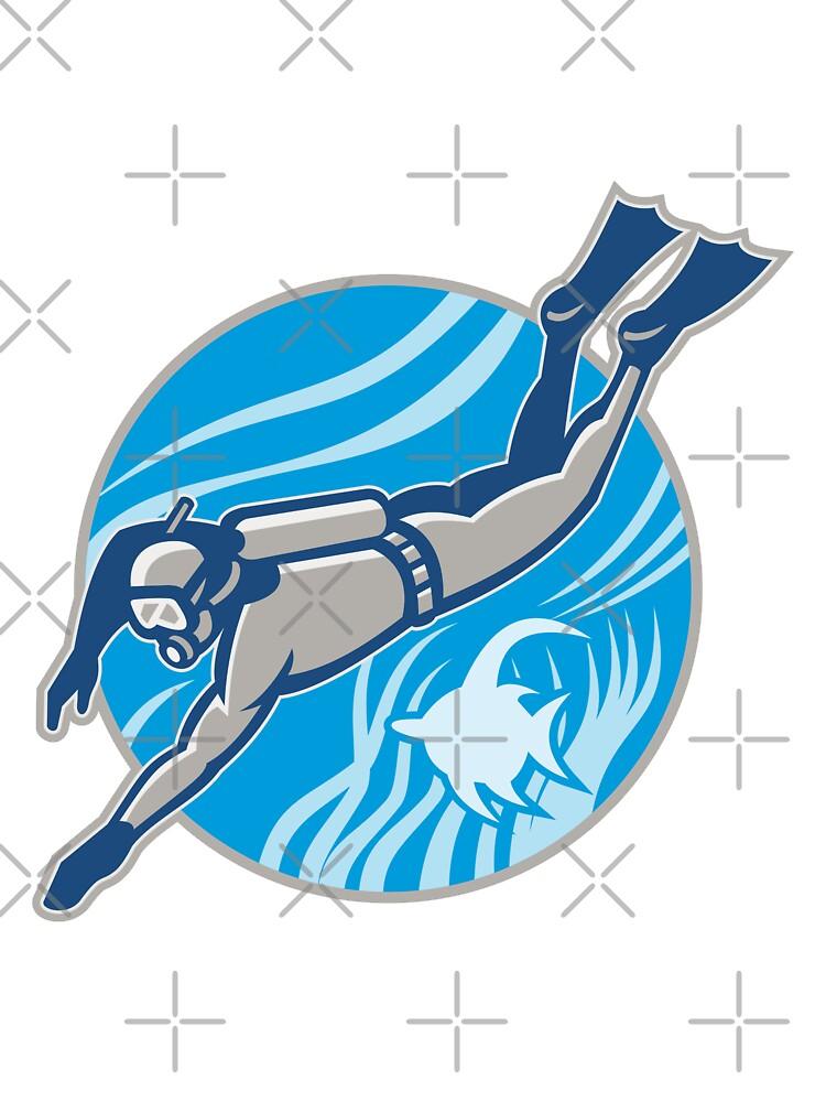 Scuba Diver Diving Retro by patrimonio