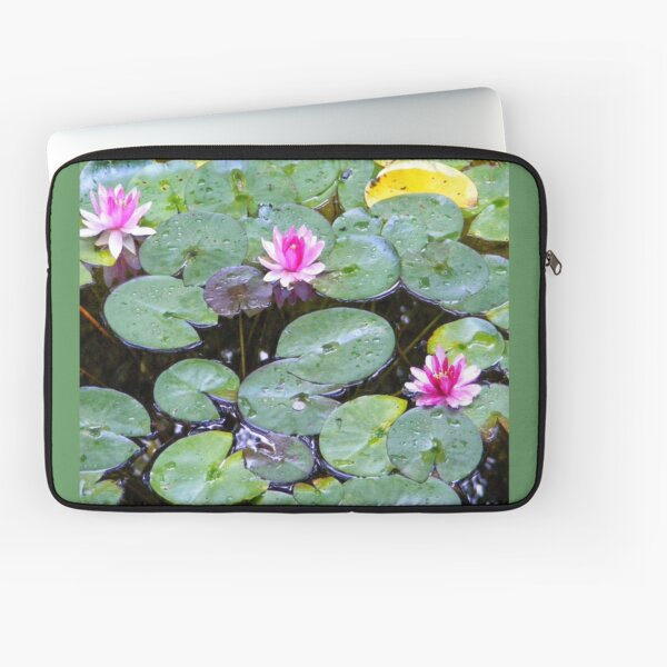 PINK WATER LILY POND FLOWERS  Laptop Sleeve