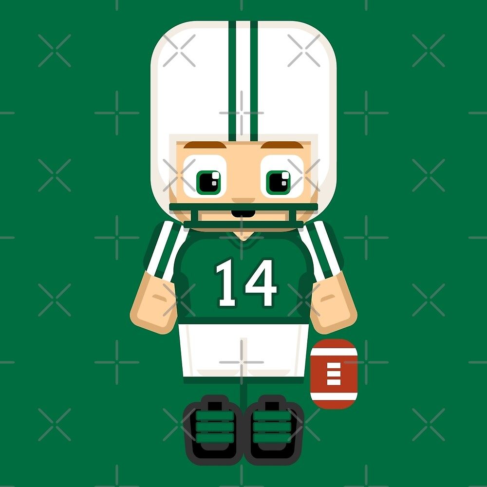 Super cute sports stars - American Football Green and White by boxedspaper