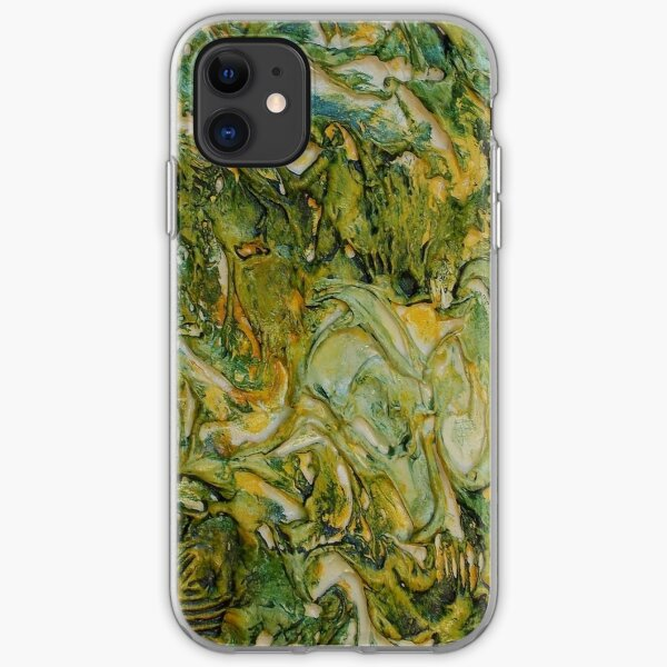 ABSTRACT GREEN AND YELLOW MOODY WAVES  iPhone Soft Case