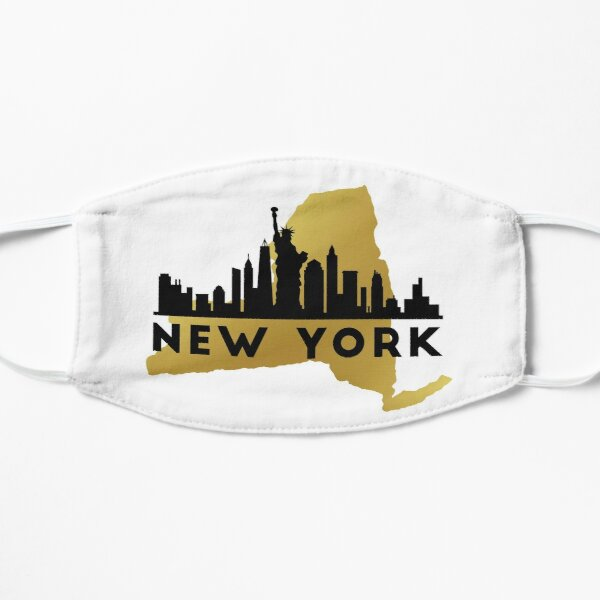 New York State Map and City Skyline T-Shirt Flat Mask