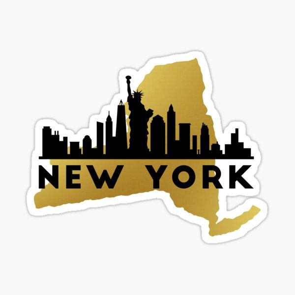 New York State Map and City Skyline T-Shirt Sticker