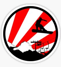 snowboard red rays Sticker