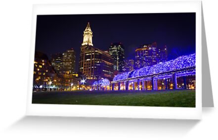 Christopher Columbus Park, Boston, Night by Philip Kearney