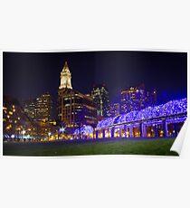 Christopher Columbus Park, Boston, Night Poster