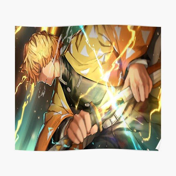 Zenitsu Kimetsu no Yaiba Breath of Thunder Katana demon slayer Poster
