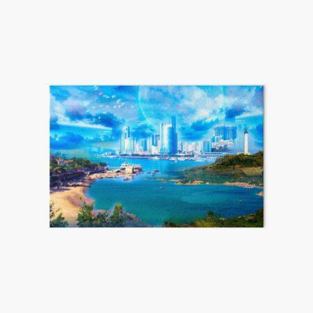 Blue Shining City Galeriedruck