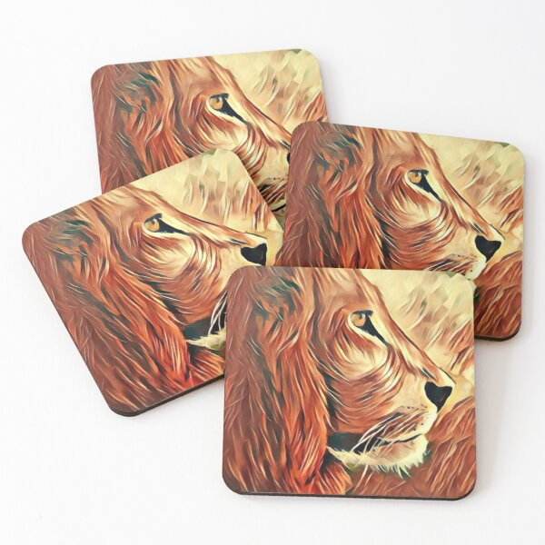 Lion King of Beasts Coasters (Set of 4)