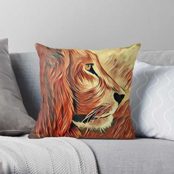 Lion King of Beasts Throw Pillow