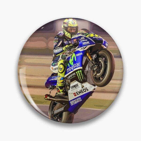 Valentino Rossi making a wheelie 3 Abstract Pin