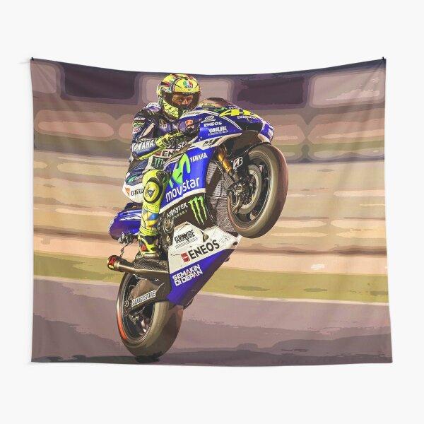 Valentino Rossi macht einen Wheelie 3 Abstract Wandbehang