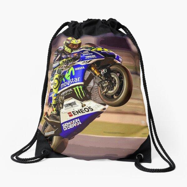 Valentino Rossi making a wheelie 3 Abstract Drawstring Bag
