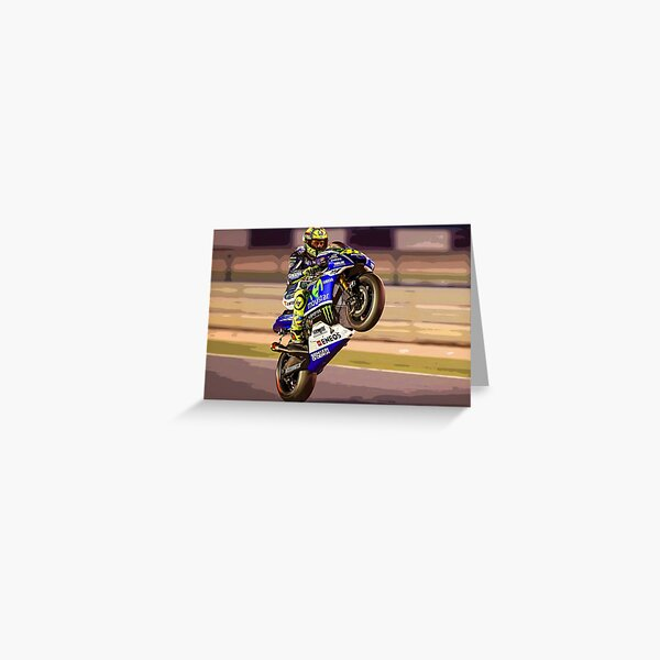 Valentino Rossi making a wheelie 3 Abstract Greeting Card