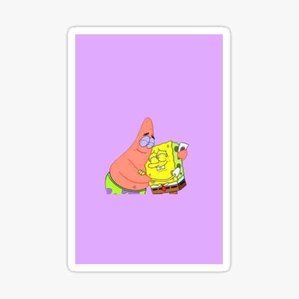 Spongebob and Patrick crying purple  Sticker