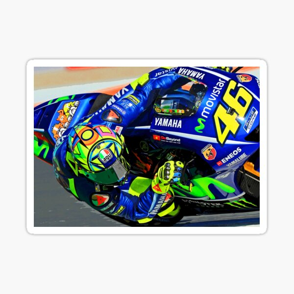 Valentino Rossi hanging in the corner abstract  Sticker