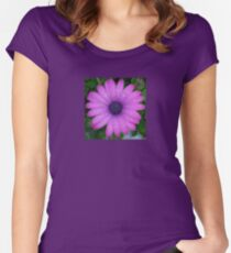 Purple African Daisy with Raindrops Women's Fitted Scoop T-Shirt