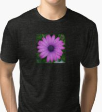 Purple African Daisy with Raindrops Tri-blend T-Shirt