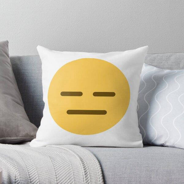 Expressionless face emoji Throw Pillow