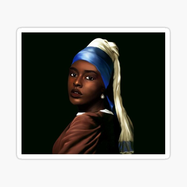 Black Girl With The Pearl Earring Sticker