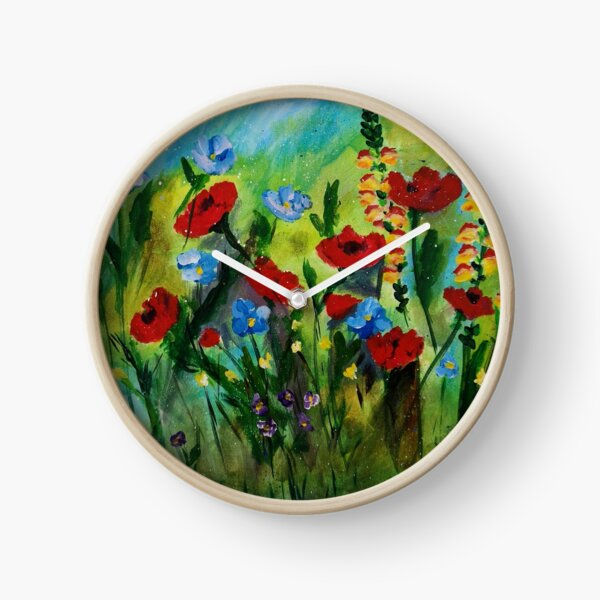 Meadow Summer Flowers Clock