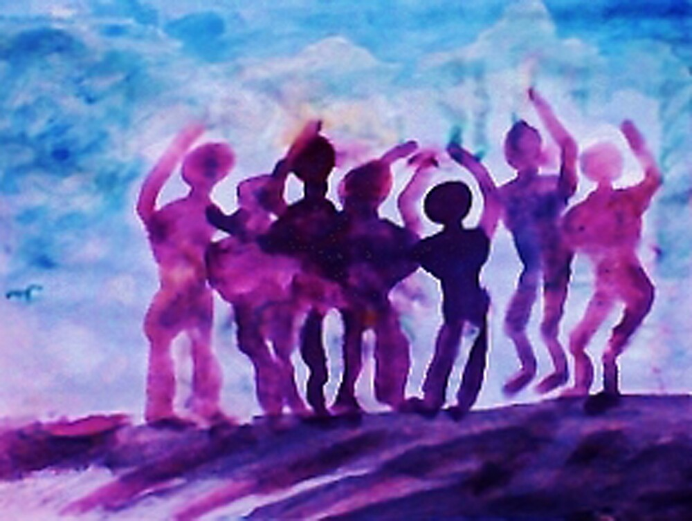 Cheering on the team, watercolor by Anna  Lewis, blind artist
