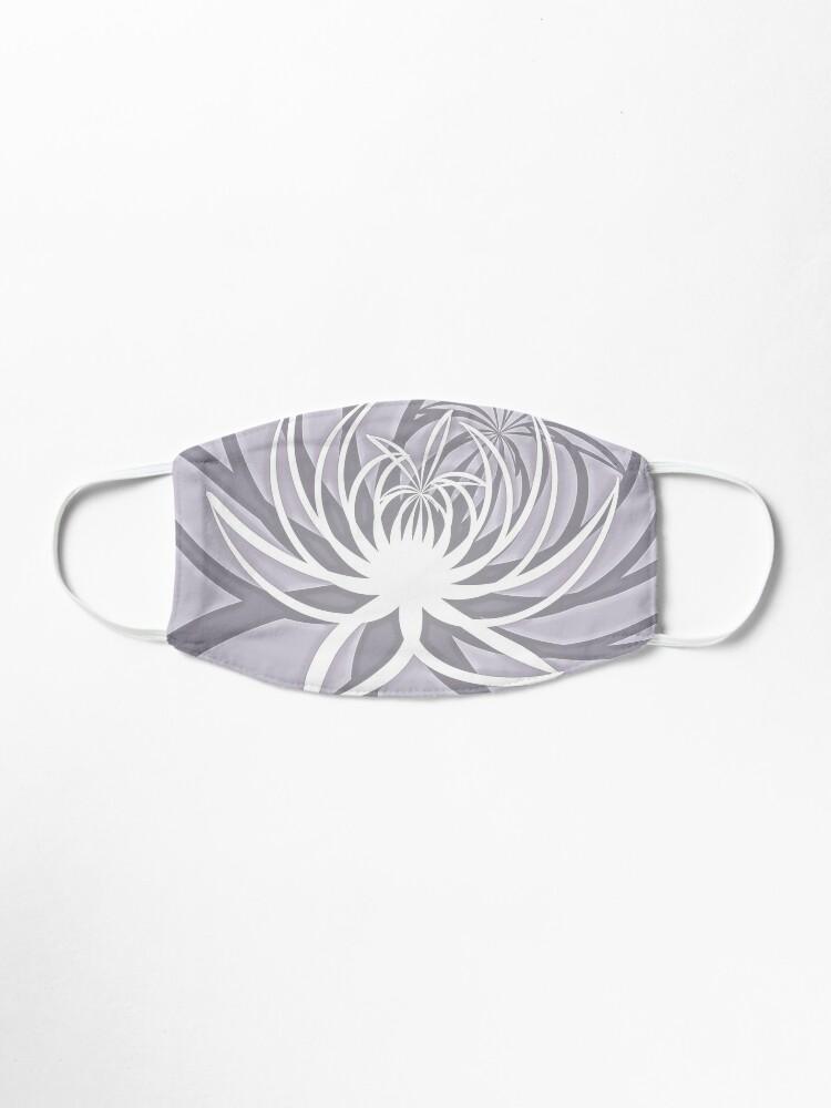 Alternate view of White Lily on Light Rose Quartz Minimalist Flower Print Mask