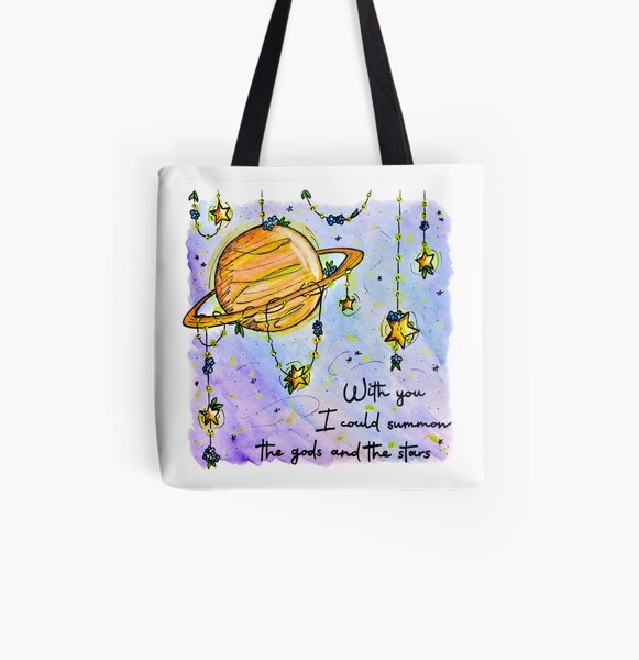 Dream Stars Sight of the Stars Makes Me Dream with Astronaut Child Van Gogo Quote Light Weight Tote Bag Wonder Space I Know Nothing