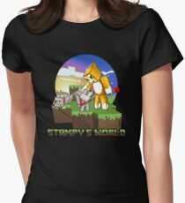 Mr Stampy cat and dogs at sunset Women's Fitted T-Shirt