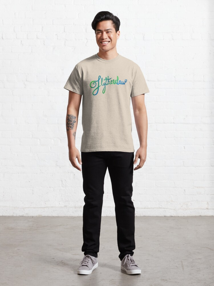 Alternate view of Slytherclaw Calligraphy Classic T-Shirt