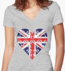 Union Jack Sherlock Wallpaper Heart Women's Fitted V-Neck T-Shirt